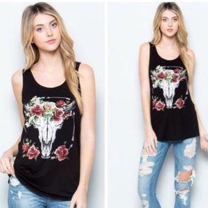 Cow Skull & Rose Tank